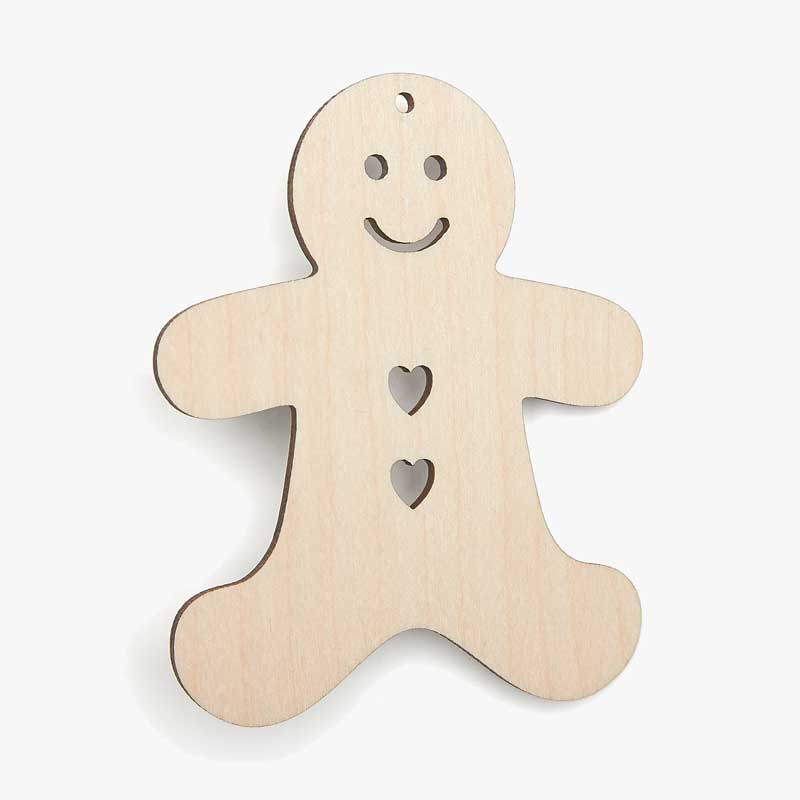 Wooden Gingerbread Man Heart Cutouts