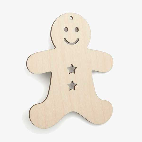 Wooden-Gingerbread-Man Christmas Craft Shape Cut Outs