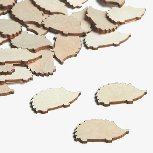 Wooden Hedgehog Embellishments Small Mini Shapes