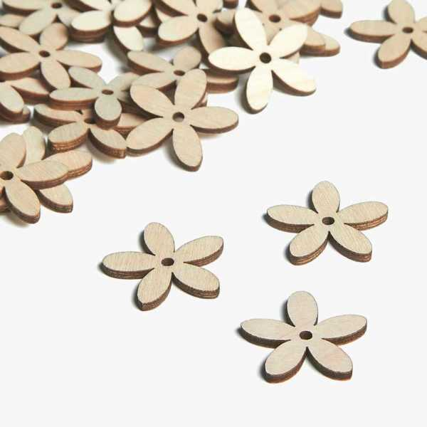 Wooden Jasmine Flower Embellishments Small Mini Shapes