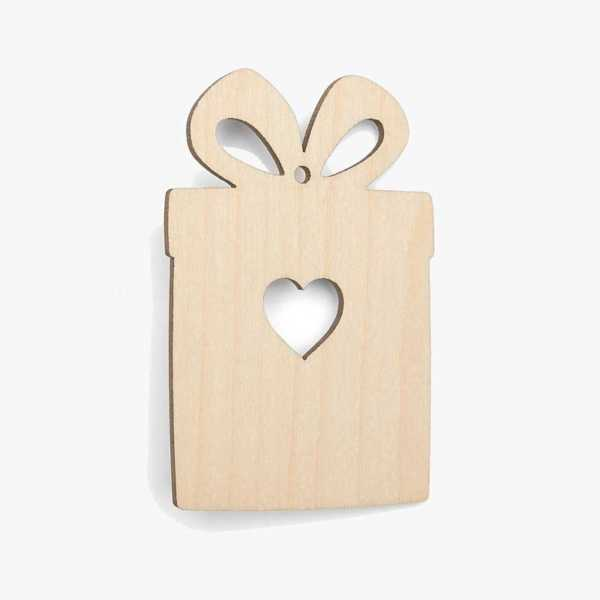 Wooden Present Christmas Decoration Craft Shape