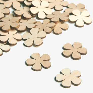Wooden Primrose Flower Embellishments Small Mini Shapes