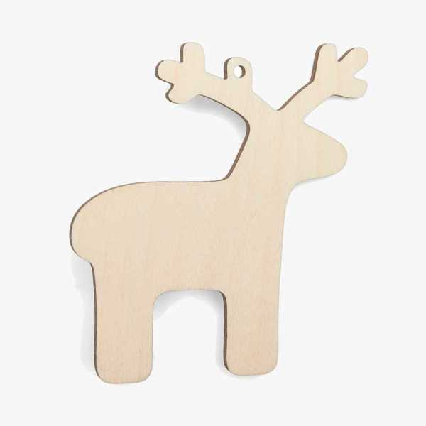 Wooden Reindeer Christmas Decoration Craft Shape