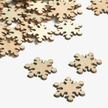 Wooden Snowflake Christmas Embellishments Small Mini Shapes