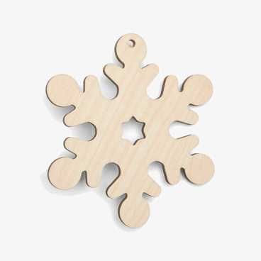 Wooden Snowflake With Star Christmas Decoration Craft Shape