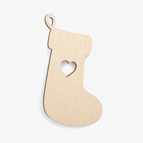 Wooden Stocking Christmas Craft Shape Cut Outs