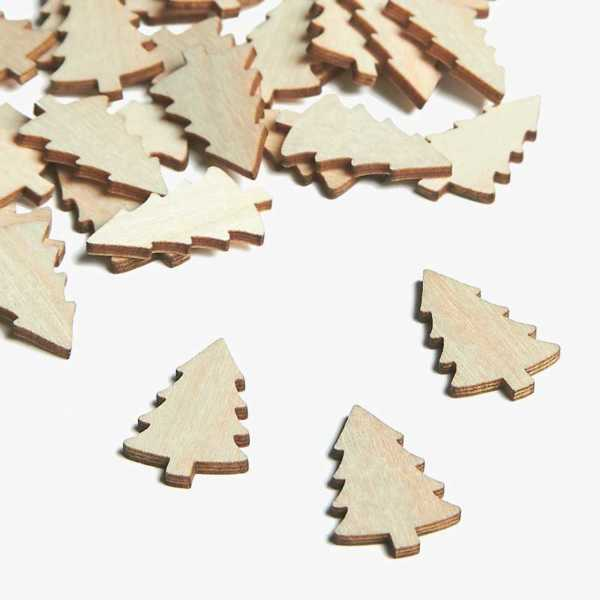 Wooden Tree Christmas Embellishments Small Mini Shapes