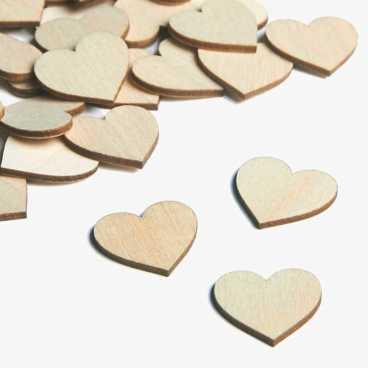 Wooden embellishments mini heart shapes