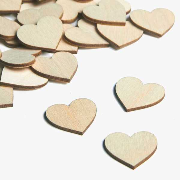 Wooden embellishments mini heart shapes