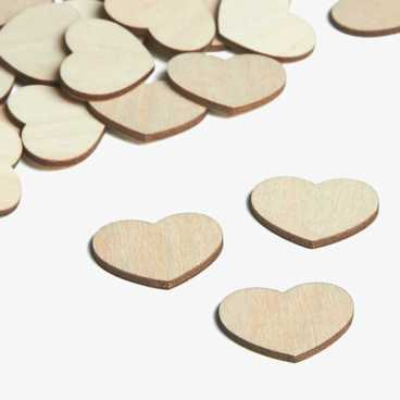 Wooden embellishments mini rustic heart shapes