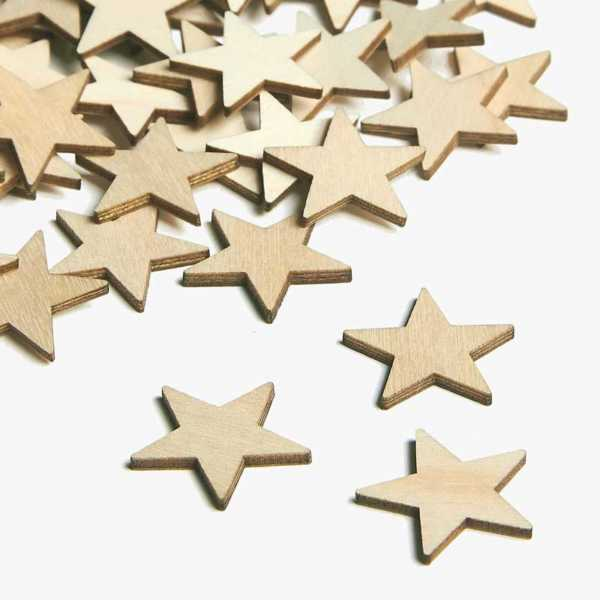 Wooden embellishments mini star shapes