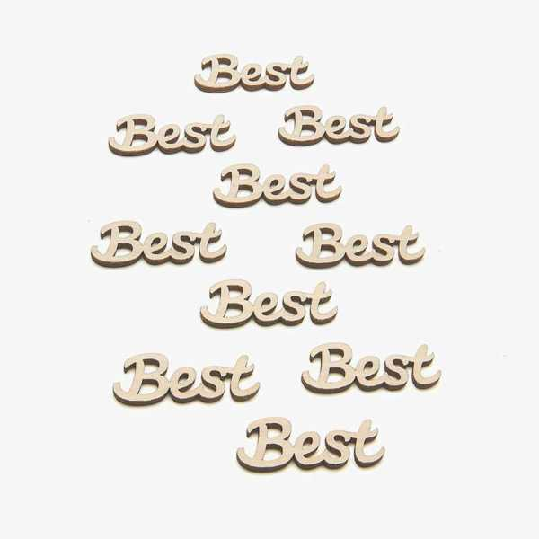 Small wooden best word card embellishments