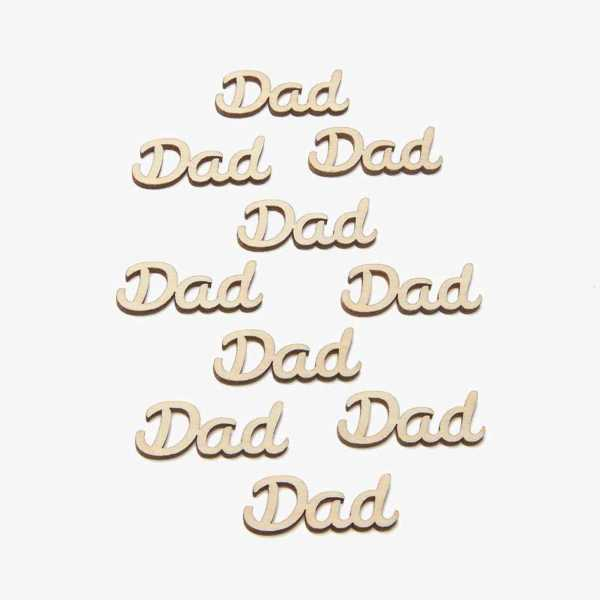 Small wooden dad word card embellishments