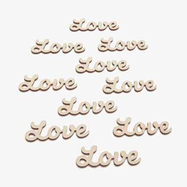 Small wooden love word card embellishments
