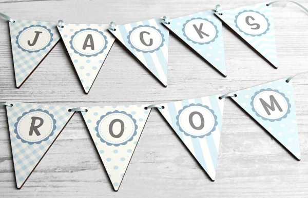 Personalised wooden letter alphabet bunting blue