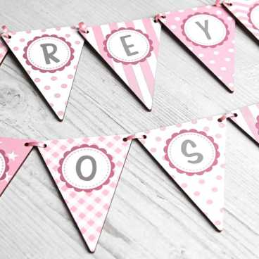 Personalised wooden letter alphabet bunting Pink