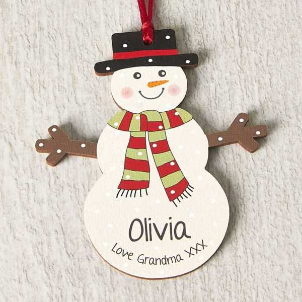 Personalised Wooden Snowman Decoration