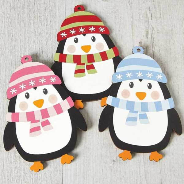 Printed Wooden Penguin Decoration