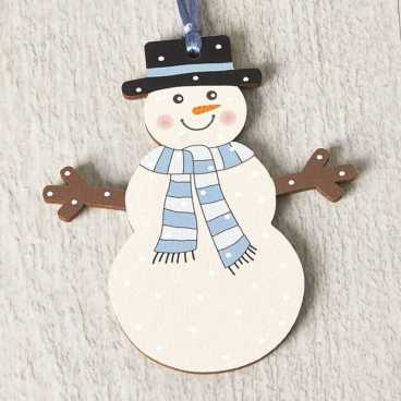 Printed Wooden Snowman Decoration