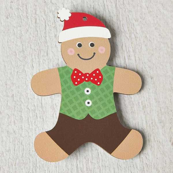 Printed Wooden Gingerbread Man Decoration