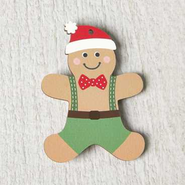Printed Wooden Gingerbread Boy Decoration