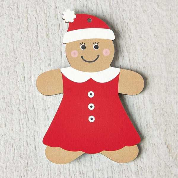 Printed Wooden Gingerbread Lady Decoration