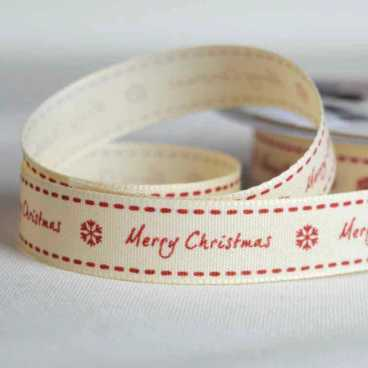 Merry Christmas Ribbon Cream - 20m