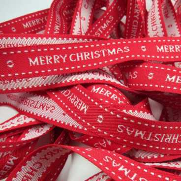 Merry Christmas Ribbon Red - 20m