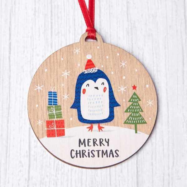 Wooden Penguin Bauble