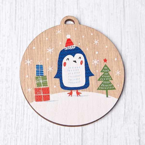 Personalisable Wooden Penguin Bauble