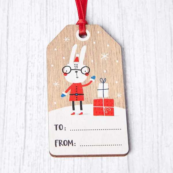 Wooden Penguin Gift Tag